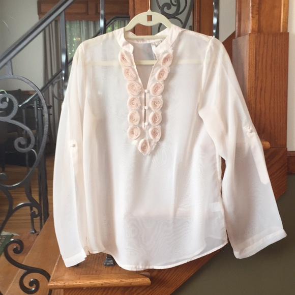 Lauren Conrad Sheer Blouse with Fabric Rosettes